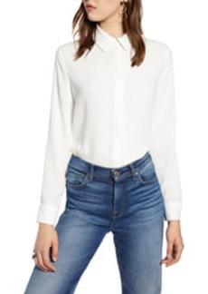 Halogen(R) Hidden Button Long Sleeve Blouse (Regular & Petite)