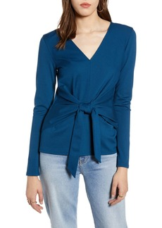 Halogen(R) Knot Front Ponte Knit Top