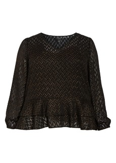 Halogen(R) Metallic Burnout Blouse (Plus Size)