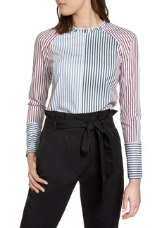 Halogen(R) Mixed Stripe Cotton Shirt (Regular & Petite)