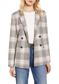 Halogen(R) Plaid Double-Breasted Blazer (Regular & Petite)
