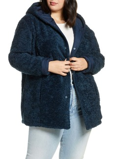 Halogen(R) Reversible Faux Fur Hooded Coat (Plus Size)
