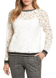 Halogen(R) Rib Trim Lace Top (Regular & Petite)
