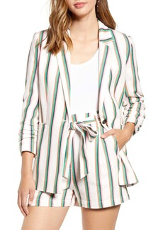 Halogen(R) Stripe Ruched Sleeve Cotton Blend Blazer (Regular & Petite)