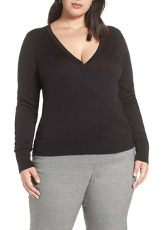 Halogen(R) Surplice Cotton Blend Sweater