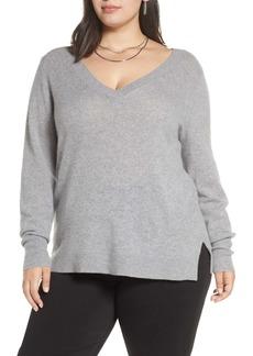 Halogen(R) V-Neck Cashmere Sweater (Plus Size)