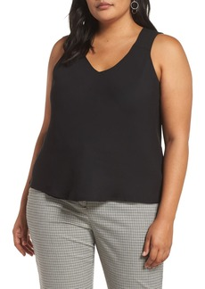 Halogen V-Neck Woven Tank (Plus Size)