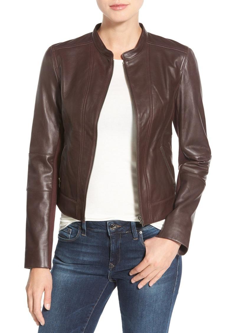Halogen®SeamDetailLeather Jacket
