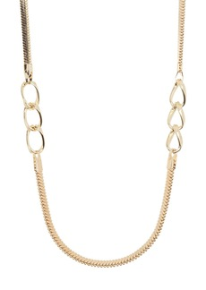 Halogen Inset Curbed Chain Wrap Necklace