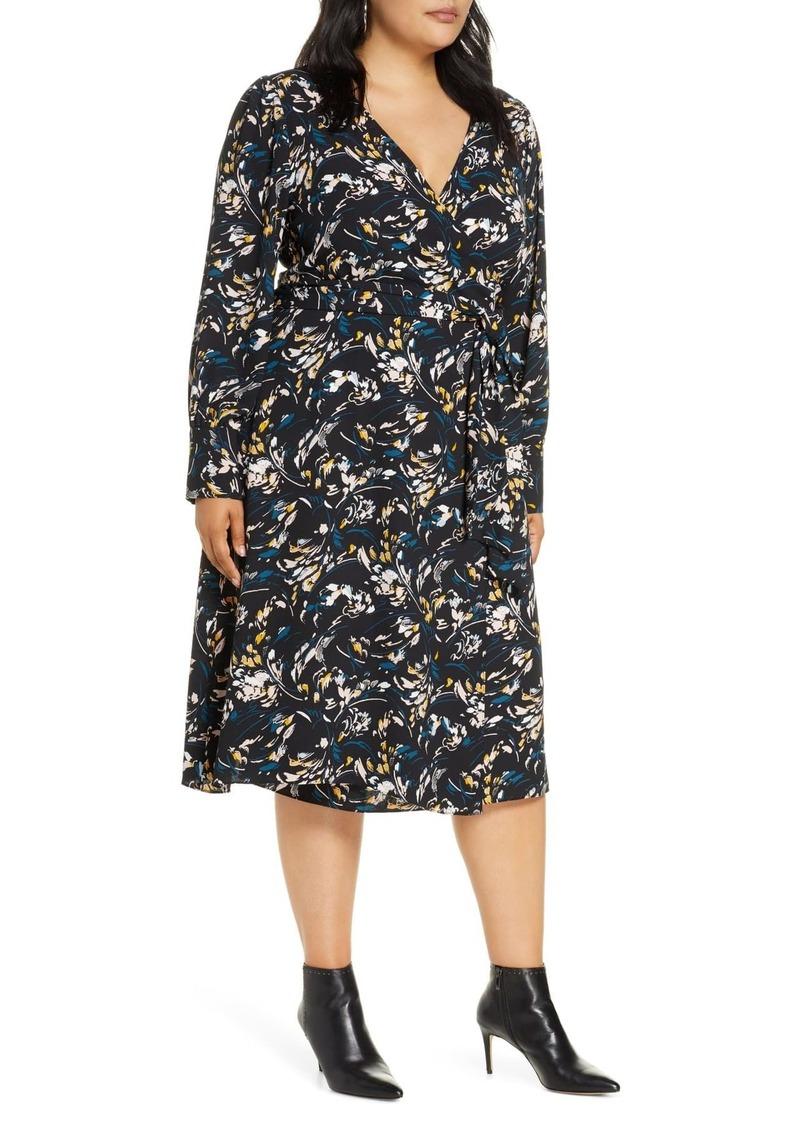 Halogen Long Sleeve Midi Wrap Dress (Plus Size)