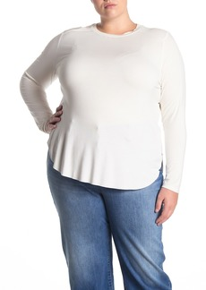 Halogen Long Sleeve Shirttail Hem T-shirt (Plus Size)