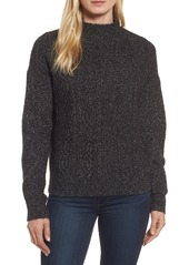 Halogen Mock Neck Cable Knit Sweater