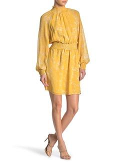 Halogen Mock Neck Smocked Chiffon Dress (Regular & Petite)