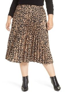 Halogen Pleated Midi Skirt (Plus Size)