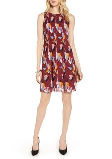 Halogen Pleated Sleeveless Shift Dress (Regular & Petite)