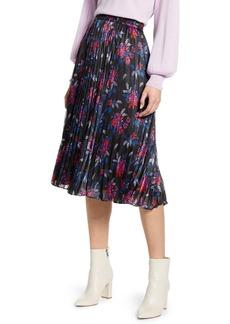 Halogen Pleated Woven Midi Skirt