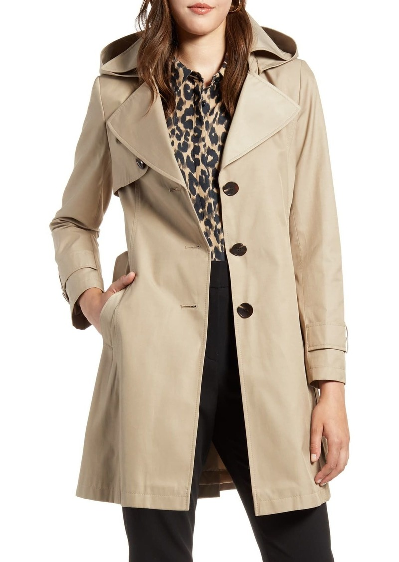 Halogen SINGLE BREASTED HOODED TRENCH