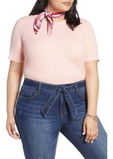 Halogen(R) Skivvy Short Sleeve Sweater (Plus Size)