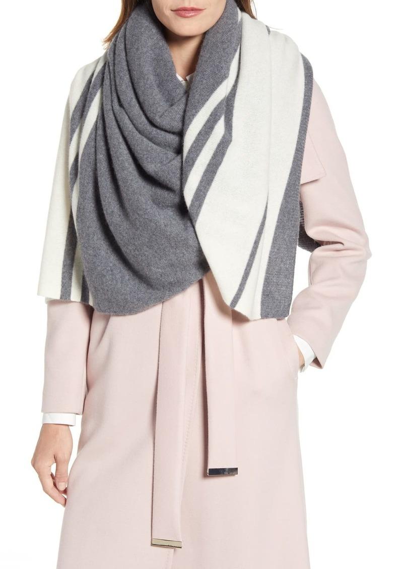 Halogen Stripe Cashmere Wrap