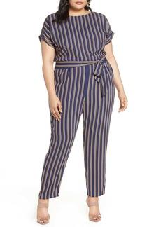 Halogen Stripe Short Sleeve Jumpsuit (Plus Size)