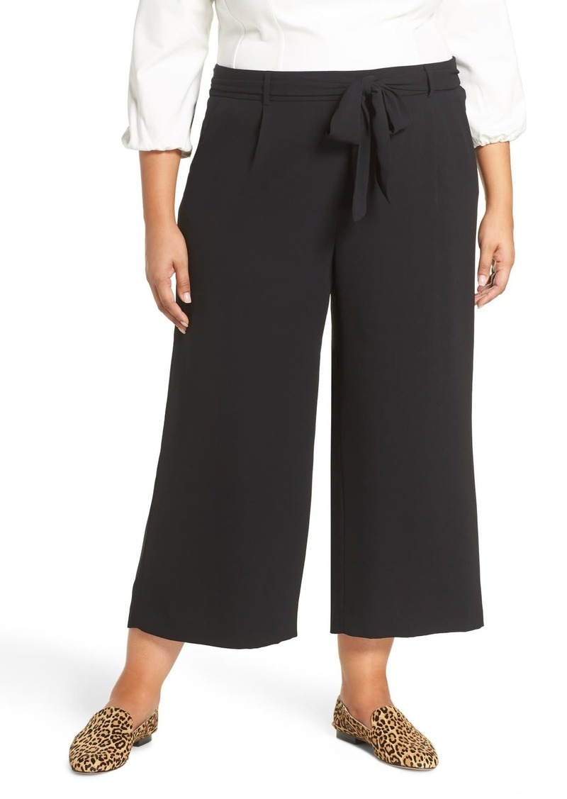 Halogen Tie Waist Wide Leg Cropped Pants (Plus Size)