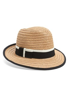 Halogen Tipped Straw Panama Hat