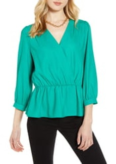 Halogen Wrap Front Peplum Top (Regular & Petite)