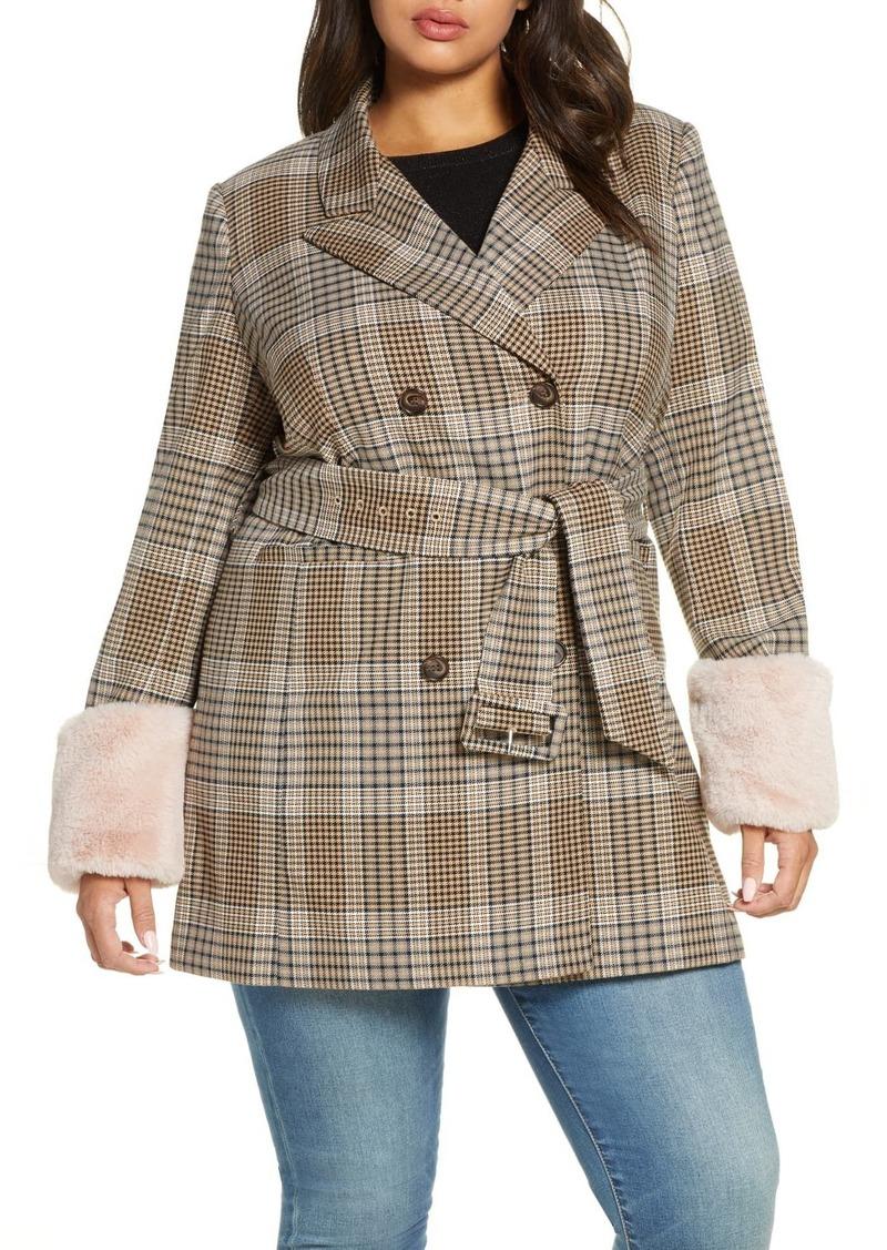 Halogen X Atlantic-Pacific Faux Fur Cuff Plaid Coat