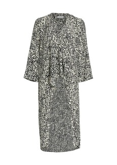 Halston Andrea Abstract Silk High-Low Top
