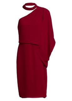 Halston Asymmetric Draped Georgette Dress