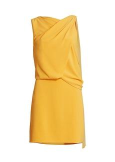 Halston Asymmetrical Draped Mini Dress