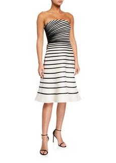 Halston Colorblock Striped Strapless Faille Dress