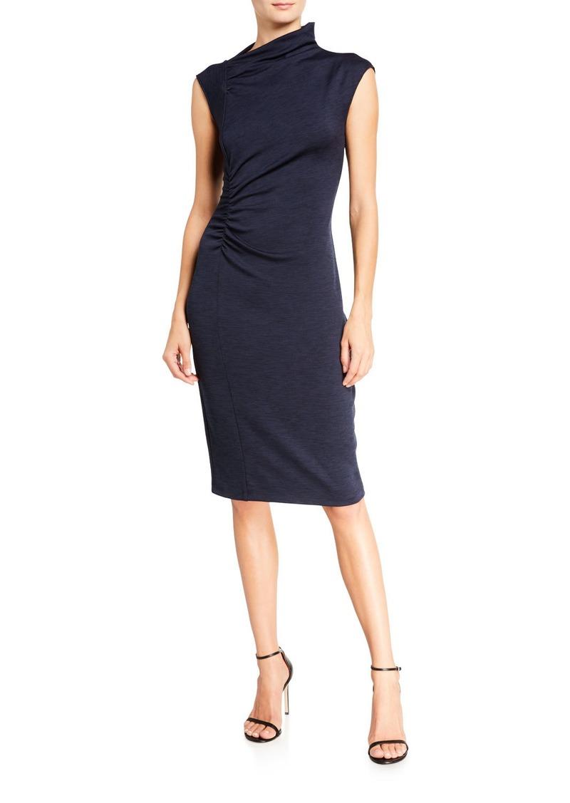 Halston Draped Neck Side-Ruched Marled Ponte Dress