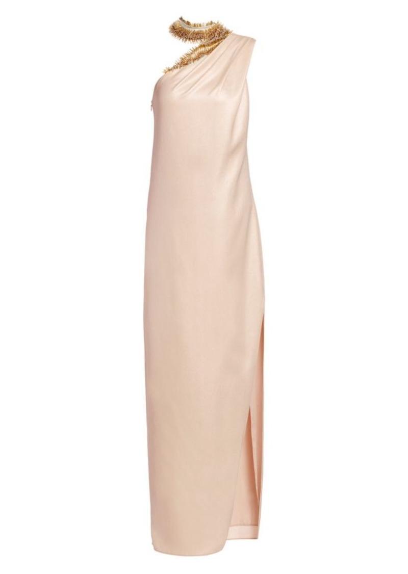 Halston Embellished Neck Asymmetric Metallic Gown