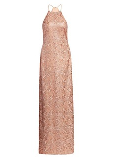 Halston Embroidered Metallic Halterneck Column Gown