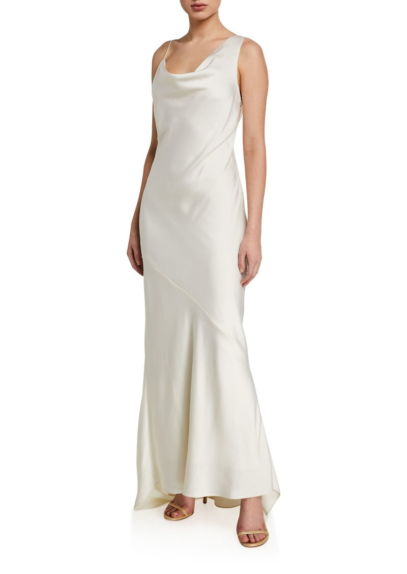 Halston Asymmetric Satin Slip Gown