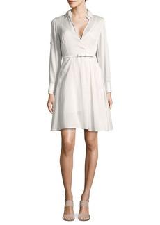 Halston Heritage Belted Long-Sleeve Shirtdress