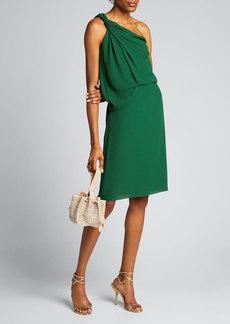 Halston Braided Strap One-Shoulder Silky Georgette Dress