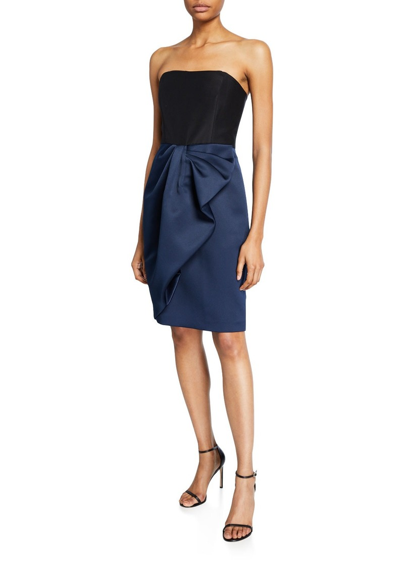 Halston Colorblock Strapless Bow-Drape Bonded Satin Dress