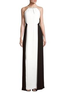 Halston Heritage Halter Floor-Length Dress
