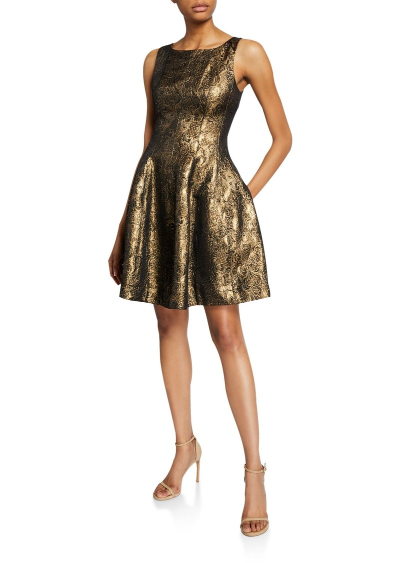 Halston Metallic Jacquard Fit-&-Flare Dress