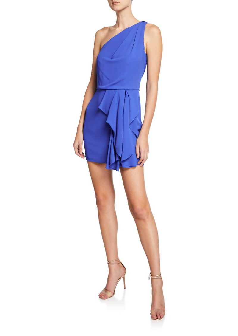 Halston One-Shoulder Drape-Front Dress