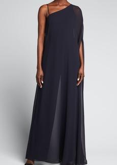 Halston One-Shoulder Jumpsuit w/ Georgette Overlay
