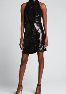 Halston Pallas Sequin Mock-Neck Cocktail Dress