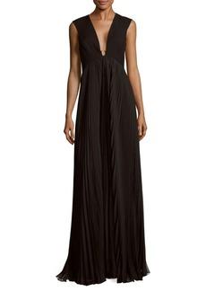 Halston Heritage Pleated Floor-Length Dress