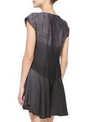 Halston Heritage Short-Sleeve Printed Ombre Mini Dress