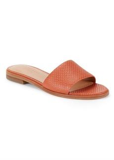Halston Heritage Textured Leather Slide Sandals