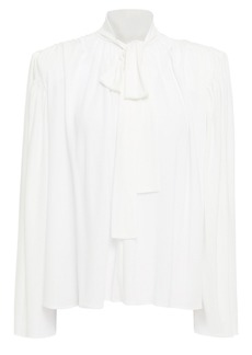 Halston Woman Pussy-bow Crepe Blouse White