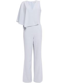 Halston Woman Cape-effect Satin-crepe Jumpsuit Light Gray