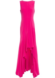 Halston Woman Asymmetric Ruffled Crepe Gown Bright Pink